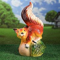 """Садовая фигура """"Белка на жёлуде"""", глянец, оранжевый цвет, 50 см"""