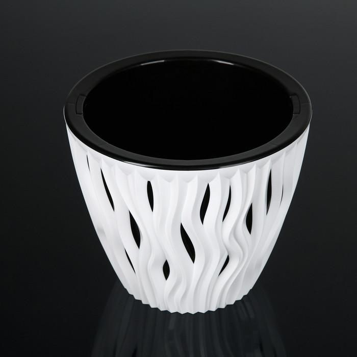 Кашпо со вставкой «Вдохновение», 3 л, цвет бело-чёрный