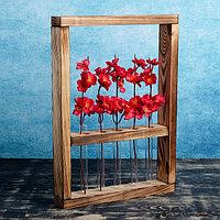 "Кашпо деревянное с 5 вазами колбами ""Рамка Экстра"", обжиг Дарим Красиво, фото 1"