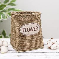 Кашпо плетёное круглое Flower, 12×12×15 см, фото 1