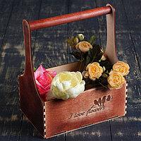 """Кашпо деревянное Мэлони Дэмур """"I love flowers, птицы"""" с ручкой, красное дерево Дарим Красиво"""