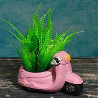 "Кашпо фигурное ""Мотоцикл"" розовое, 17*8, 5*9см, фото 1"