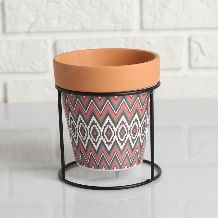 Кашпо керамическое Терракот с цветным узором на круглой мет. подставке 13*14см