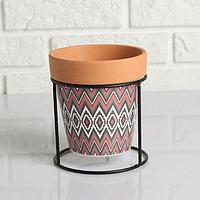 Кашпо керамическое Терракот с цветным узором на круглой мет. подставке 13*14см, фото 1