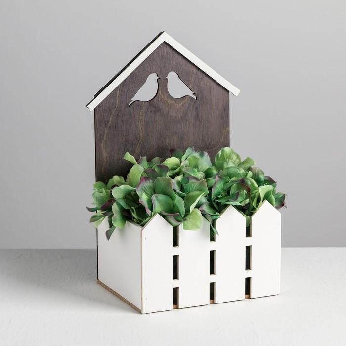 Кашпо-домик с заборчиком «Птицы», 15 х 11 х 25 см