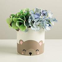 Керамический белый горшок «Медведь», 10 х 10 см, фото 1