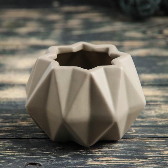 """Кашпо керамическое """"Треугольники"""" серое 10*10*7 см"""