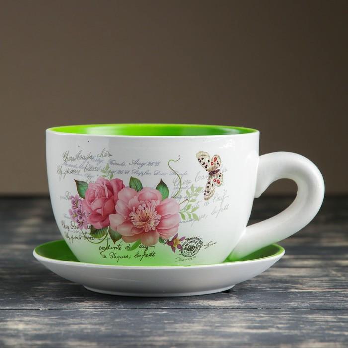 """Горшок цветочный в форме чашки """"Цветы"""" 15*19*10 см"""