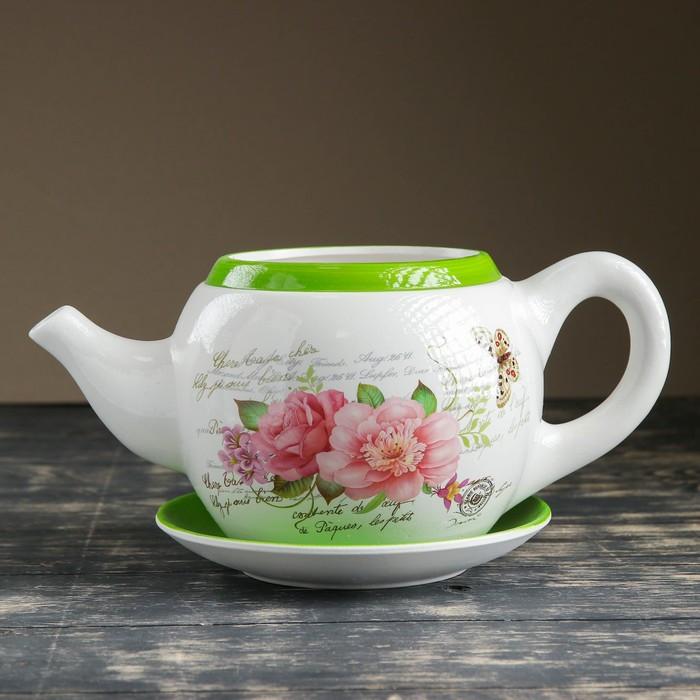 """Горшок цветочный в форме чайника """"Цветы"""" 32*18*15 см"""