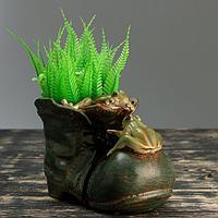 "Кашпо фигурное ""Лягушки на ботинке"", 19*11,5*14см, фото 1"