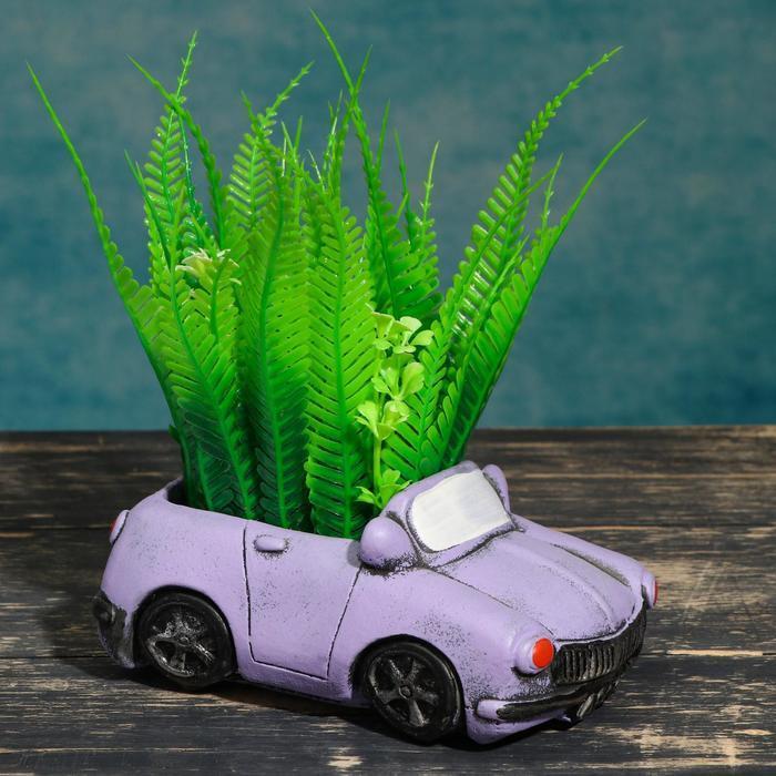 """Кашпо фигурное """"Машинка"""" фиолетовое, 13,5*8*7см"""