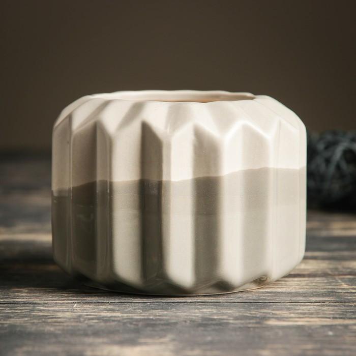 Кашпо керамическое серое 11*11*9 см
