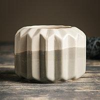 Кашпо керамическое серое 11*11*9 см, фото 1