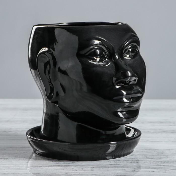 """Кашпо """"Голова африканки"""" глянец, 1,4 л, чёрный"""