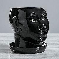 """Кашпо """"Голова африканки"""" глянец, 1,4 л, чёрный, фото 1"""