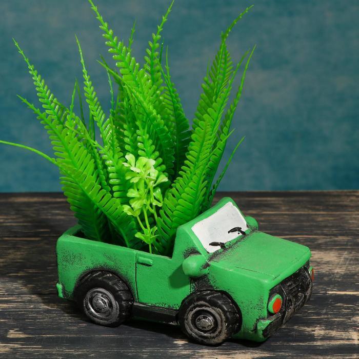 """Кашпо фигурное""""Машинка"""" зеленое, 14*6,5*7см"""