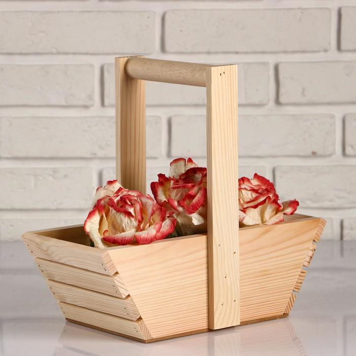 """Кашпо деревянное """"Корзинка, лодочка"""", ручка деревянная, МАССИВ, натуральное, 30×14×27 см"""