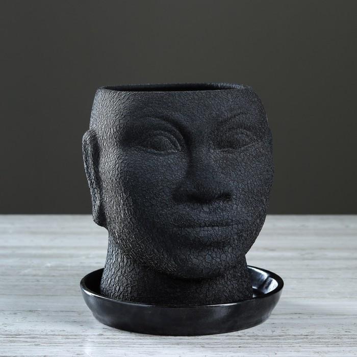 """Кашпо """"Голова африканки"""" шёлк, 1,4 л, чёрный"""
