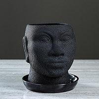"""Кашпо """"Голова африканки"""" шёлк, 1,4 л, чёрный, фото 1"""