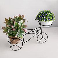 Подставка для цветов «Велосипед», 34,5×10×20,5 см, цвет чёрный