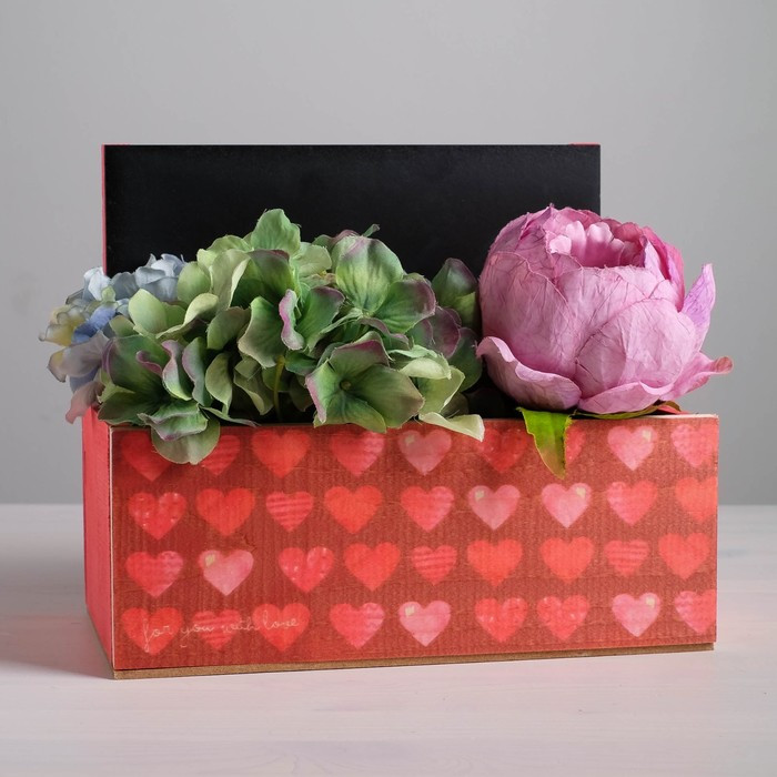 Кашпо с грифельной табличкой «Для тебя с любовью» 24,5 х 14,5 х 20 см