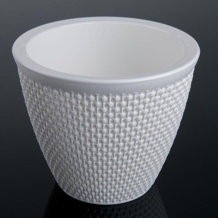 Кашпо со вставкой «Ротанг», 3 л, цвет белый