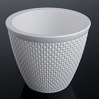 Кашпо со вставкой «Ротанг», 3 л, цвет белый, фото 1