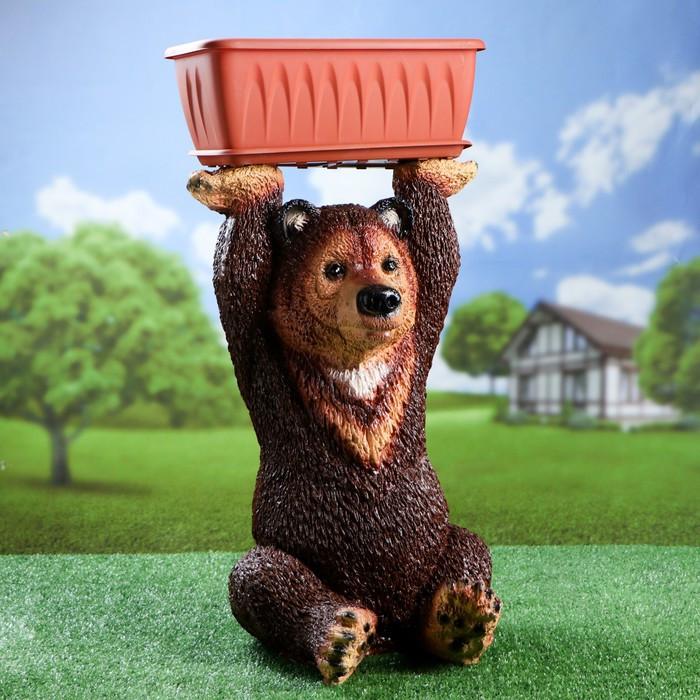 """Фигурное кашпо """"Медведь с цветником"""" (с подносом) цветной 37х41х64см"""