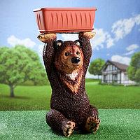 """Фигурное кашпо """"Медведь с цветником"""" (с подносом) цветной 37х41х64см, фото 1"""