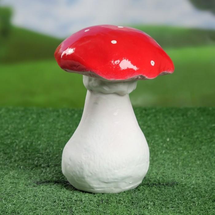"Садовая фигура ""Гриб мухомор"", белый цвет, 20 см"