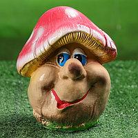 """Садовая фигура """"Гриб мухомор-мультяшка"""", коричневый цвет, 19 см, фото 1"""