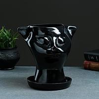 "Фигурное кашпо ""Голова кошки"" 21х23см черное, фото 1"