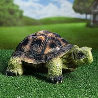 """Садовая фигура """"Черепаха Карл"""", зелёно-коричневый цвет, 17 см"""