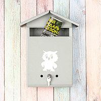 Ящик почтовый с замком, вертикальный, «Домик», серый, фото 1