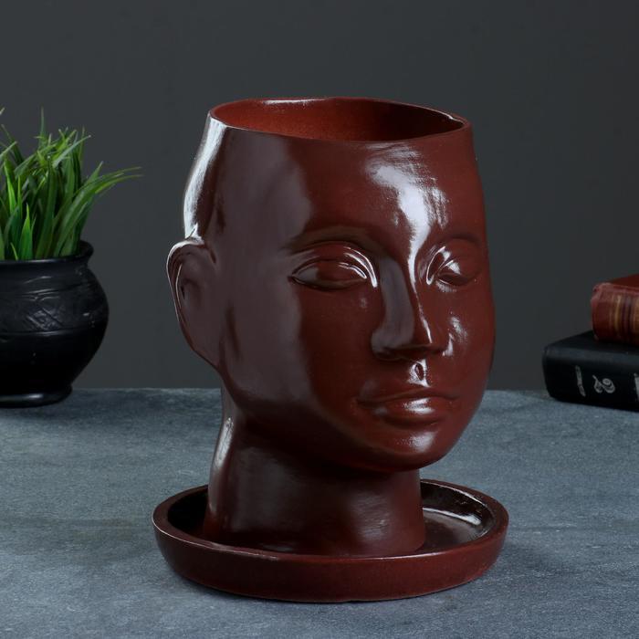 """Фигурное кашпо """"Голова"""" 24х19см коричневое"""