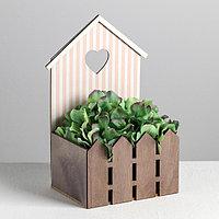 Кашпо-домик с заборчиком «Полоска», 15 х 11 х 25 см, фото 1