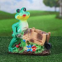 """Садовая фигура """"Лягушка с телегой"""", зелёный цвет, 23 см, фото 1"""