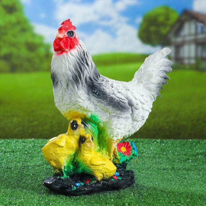 "Садовая фигура ""Курица"", белый цвет, 32 см, микс"