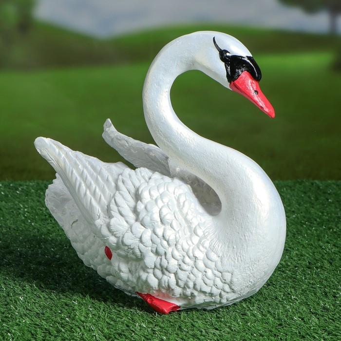 """Садовая фигура """"Лебедь"""", белый цвет, 24 см"""