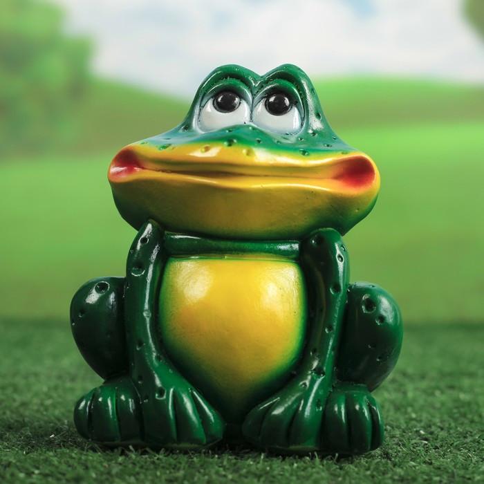 """Садовая фигура """"Сидящая лягушка"""", зелёная 15 см"""