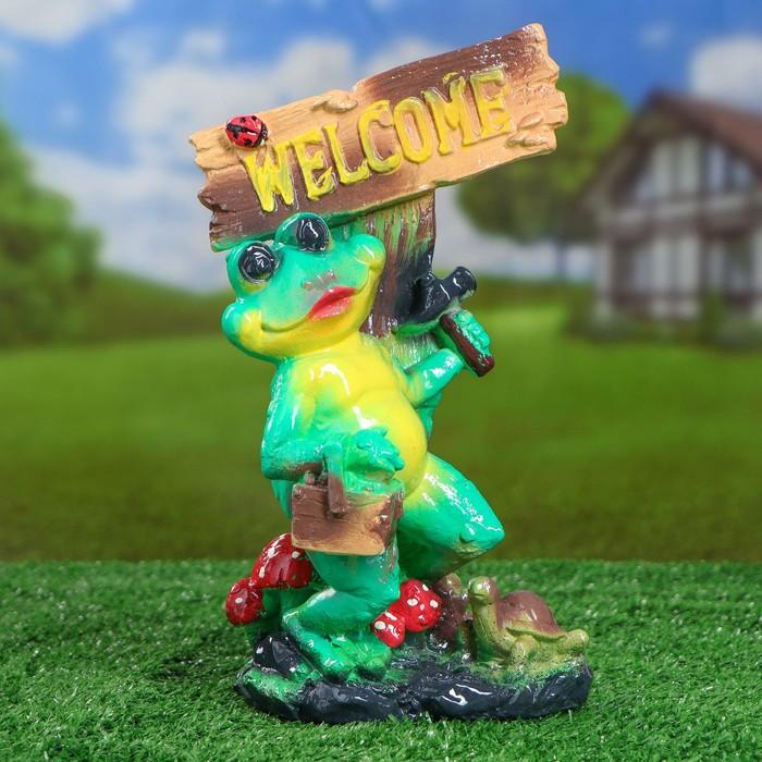 "Садовая фигура ""Лягушка Welcome"", зелёный цвет, 28 см"