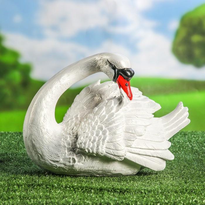 """Садовая фигура """"Лебедь"""", белый цвет, 21 см"""