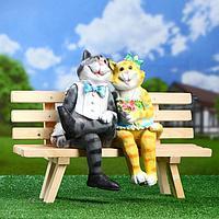 """Садовая фигура """"Коты на лавке"""", микс, 40*32*18 см"""