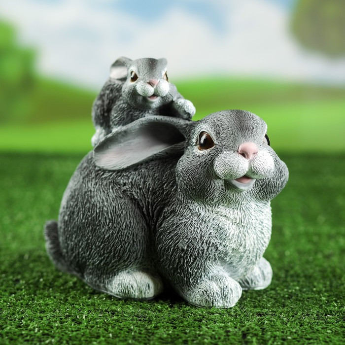 """Садовая фигура """"Заяц с зайчонком"""", серая, 19*15*23 см"""