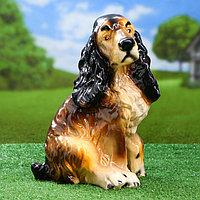 """Садовая фигура """"Собака Спаниель"""", бело-чёрный цвет, 34 см, микс"""