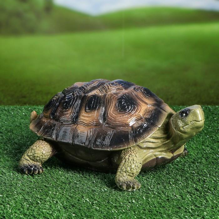 """Садовая фигура """"Черепаха Эмбер"""", зелёный цвет, 14 см"""
