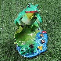 """Садовая фигура """"Лягушка на лилии"""", зелёный цвет, 22 см, фото 1"""