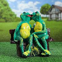"""Садовая фигура """"Лягушка на лавке"""", зелёный цвет, 29 см, микс, фото 1"""