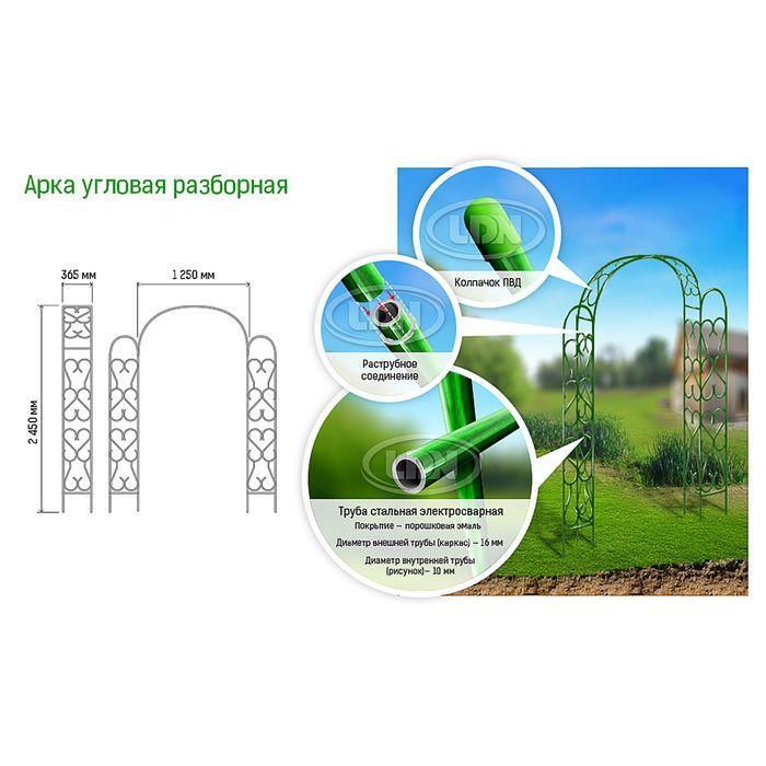 Арка садовая, разборная, 230 × 125 × 36,5 см, металл, зелёная - фото 2