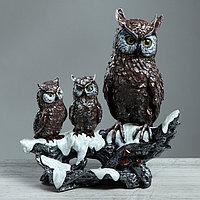 """Статуэтка """"Три совы на ветке"""" цветной, рисованный, 36 см, фото 1"""